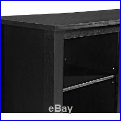 TV Stand with Electric Fireplace Insert for 60 TV Black Media Storage Center
