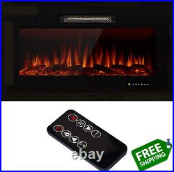 U-MAX 36 Recessed Wall Mounted Electric Fireplace Insert, 9 Colors Flame/Touch