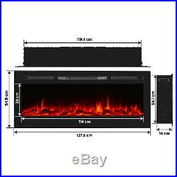 Unionline 127cm in-Wall Recessed Mounted Electric Fireplace Insert with Touch 9