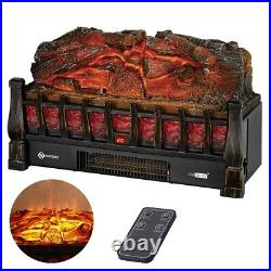 VIVOHOME 110V Electric Fireplace Space Heater with 3D Insert Log Flame Ember Bed