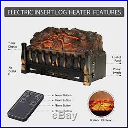 VIVOHOME 110V Electric Insert Log Quartz Fireplace Ember Bed Fan Heater Remote