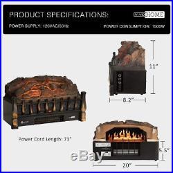 VIVOHOME 110V Electric Insert Log Quartz Fireplace withRealistic Ember Bed