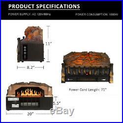 VIVOHOME 110V Electric Remote Insert Log Quartz Fireplace Heater 3D Flame Effect