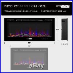 VIVOHOME 36 50 Remote Electric Fireplace Heater Wall Insert Log 3-Color Flame