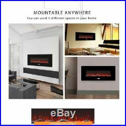 VIVOHOME 50.4 Remote Electric Fireplace Wall Mounted Insert Log 3D Flame Heater