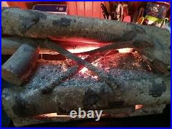 Vintage Electric Lighted Rotating Faux Fire Wood Log Fireplace Insert Vtg