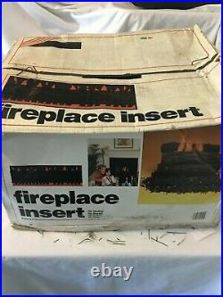 Vintage Fireplace Insert NIB withGrate & fuel can holder, Lava Rock, Tool, & Logs
