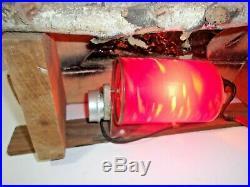 Vintage Log Electric Rotating Motion Lighted Fireplace Insert Cabin Decor Works