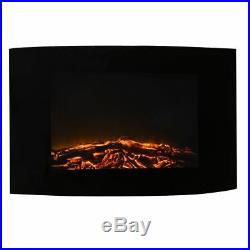 Wall Fireplace Insert Electric Space Heater Fan Remote Control Flame Decor