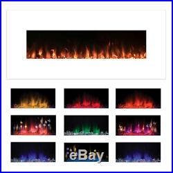 Wall Mount Electric Fireplace Heater Color Changing Flame Insert Home Decor 50