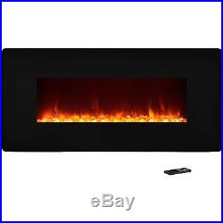 Wall Mount Electric Fireplace Heater Insert Glass Flame Home Stove Living Room