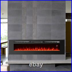 Wall Mounted/Insert Electric Fireplace Heater 70 Wide Multi-Color Flame Remote