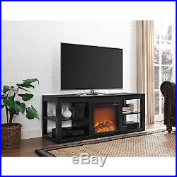 Wood TV Stand Entertainment Center with Fireplace Insert TVs up to 65 Black