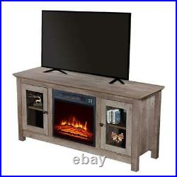 Wooden Cabinet 18'' Electric Fireplace Insert TV Stand Heater With Remote Control