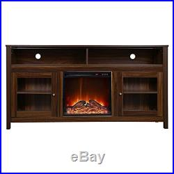 Y-Decor FPC13 19 Wide Insert and Brown Cabinet Electric Fireplace