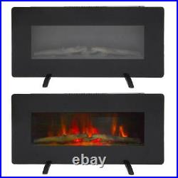 ZOKOP Embedded Fireplace Electric Insert Heater Glass View Log Flame Remote Home