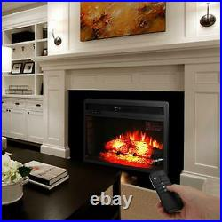Zokop Embedded 27 Electric Fireplace Insert Heater Log Flame with Remote Control